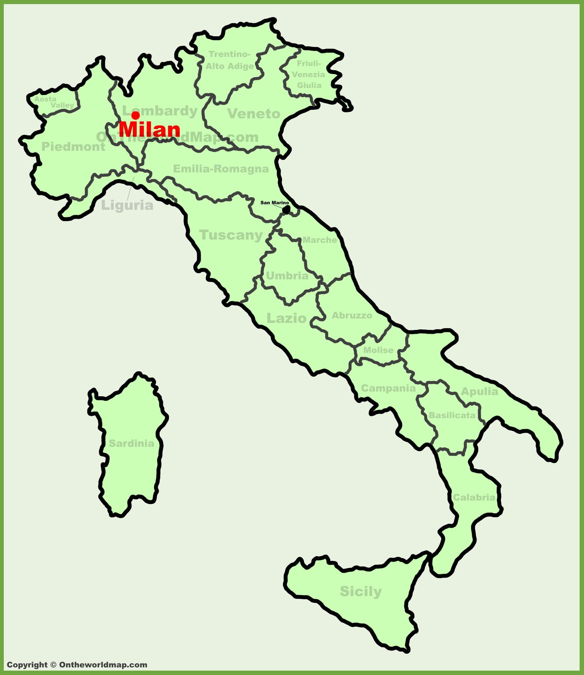 mailand landkarte italien Milan, Italien map   Karte von Italien zeigt, Mailand (Lombardei